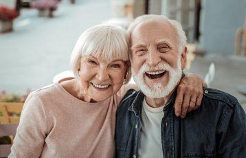 Elderly,Couple.,Joyful,Nice,Elderly,Couple,Smiling,While,Being,In